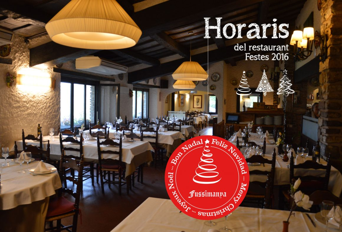 Opening hours of the restaurant at Christmas 2016